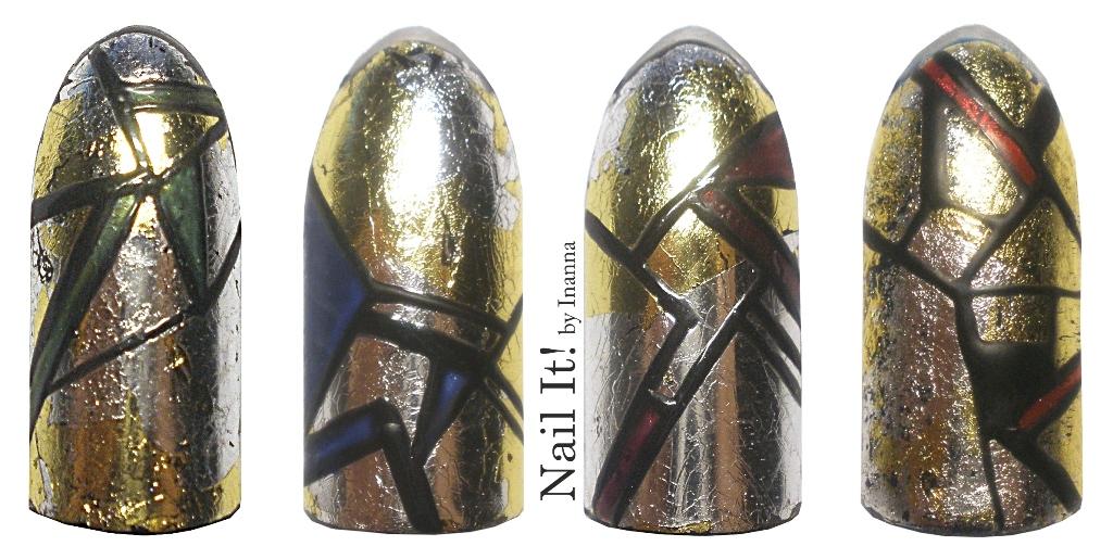 TUTORIAL ::: Metallic Geometry - Indigo Nails Gold & Silver Transfer Foil Nail Art
