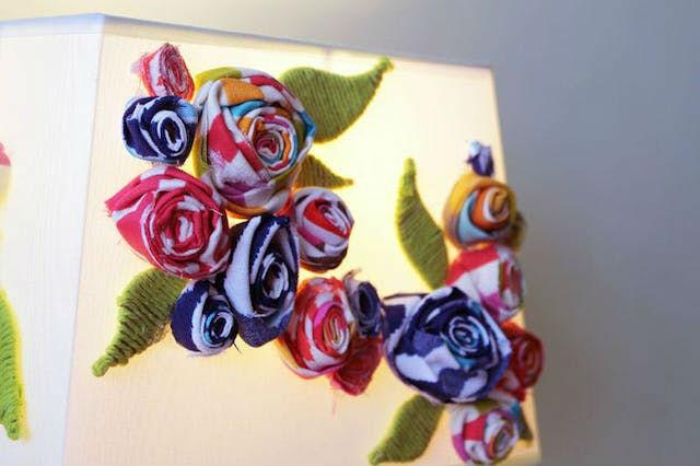 7 DIY para renovar las pantallas de las lámparas. Pantalla de lámpara decorada con tela.