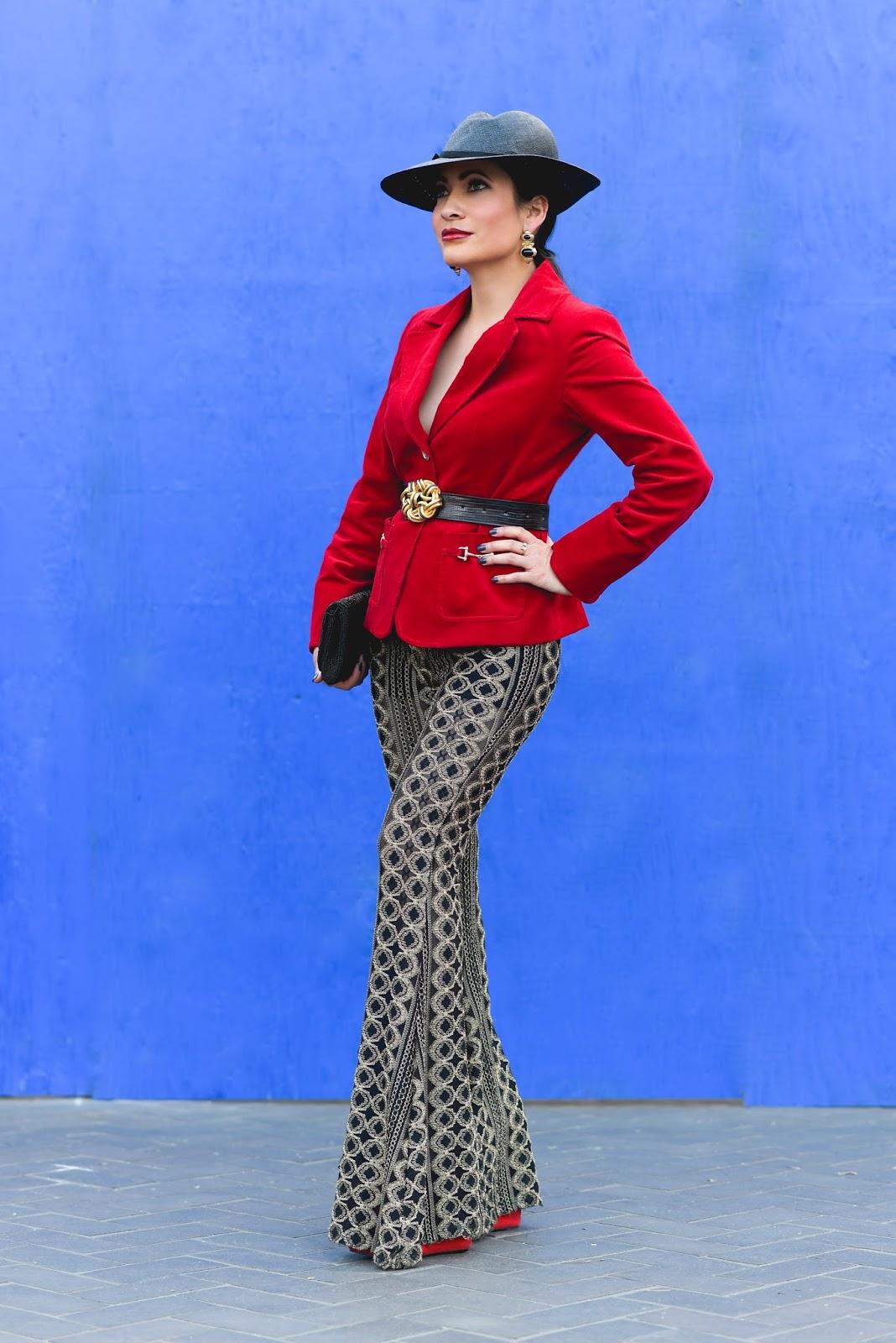 Vintage black hat honey punch gold and black sheer flare pants red talbots  corduroy blazer black 427b2170a4bb