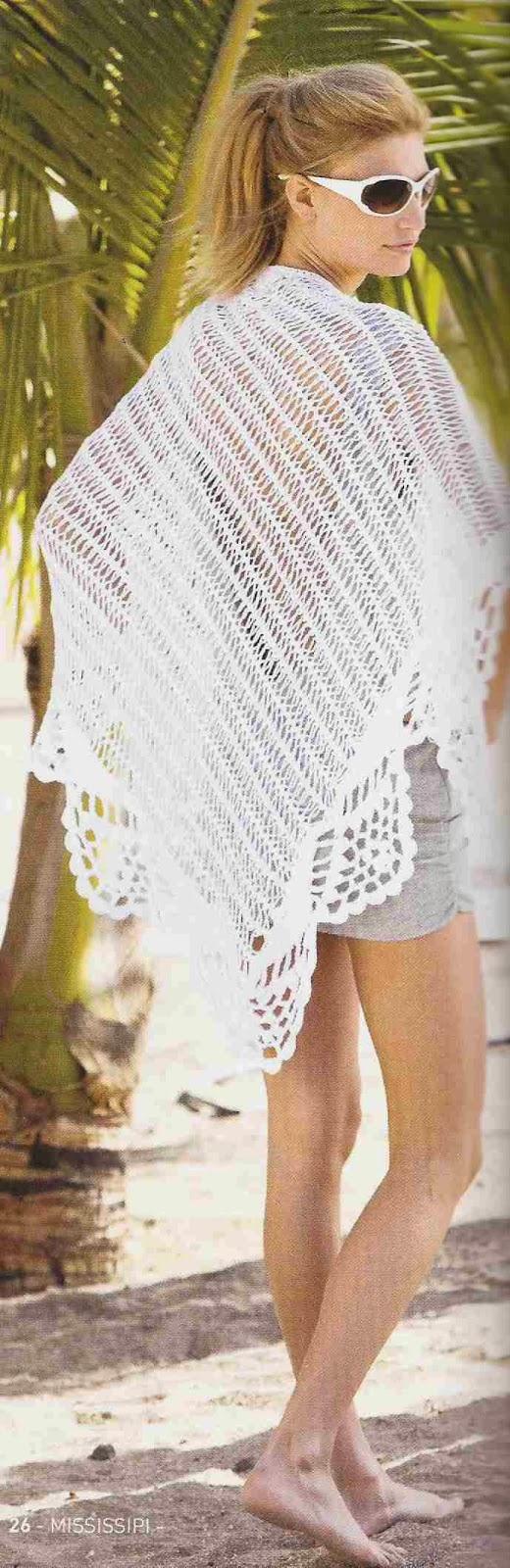 Chal o Poncho Blanco a Crochet