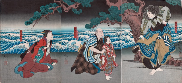 Hirosada Seisuiki Deluxe Chuban triptych 1851