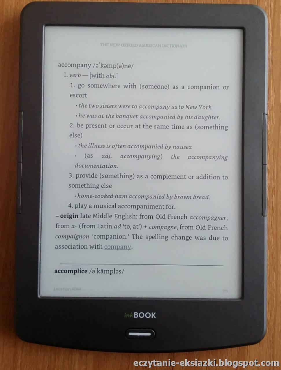 Aplikacja Kindle na InkBOOK Classic 2 - słownik w trybie pełnoekranowym