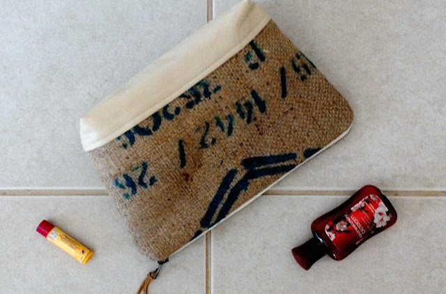 Gold and White large burlap zipper pouch by Lina and Vi - linaandvi.etsy.com