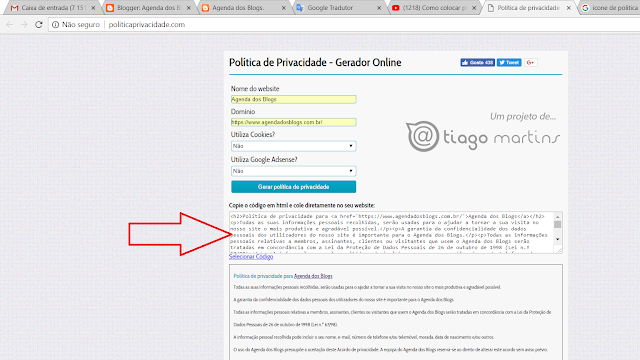 Site da Política de Privacidade