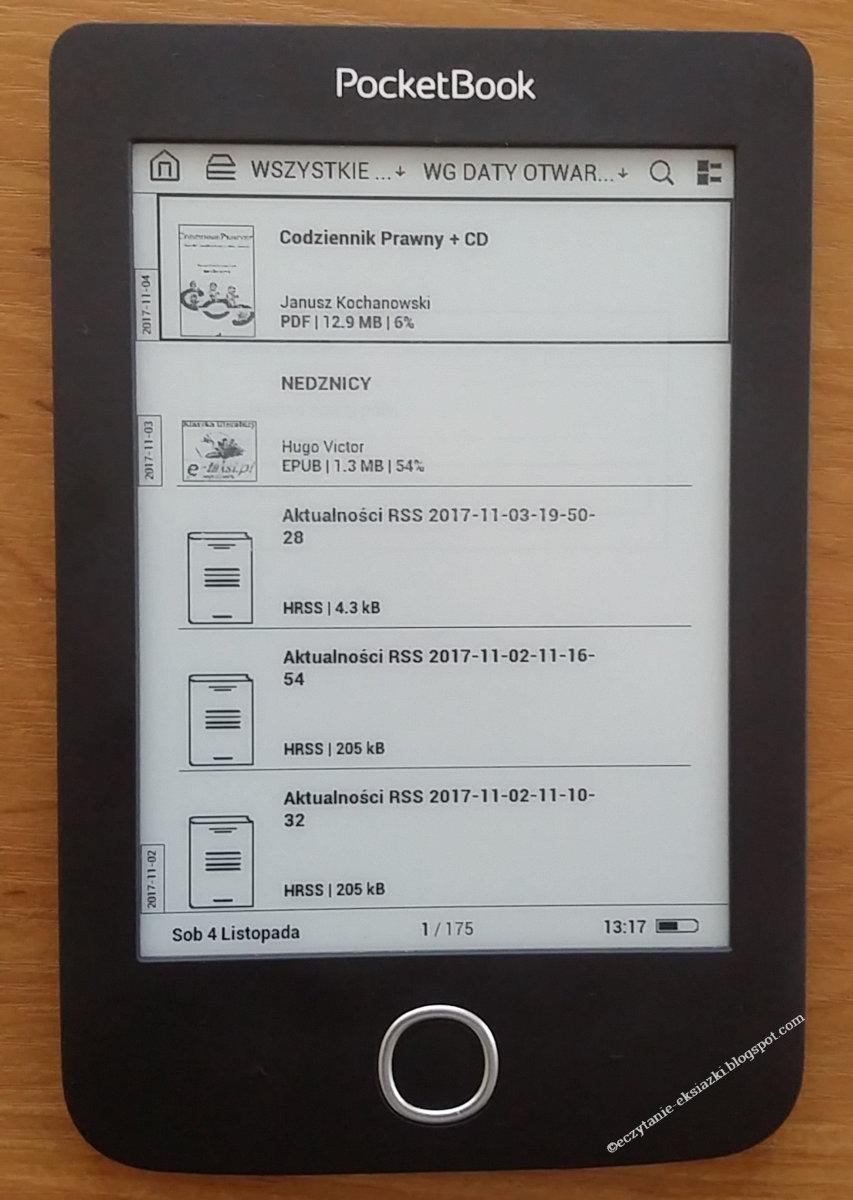 Sortowanie e-booków według daty otwarcia