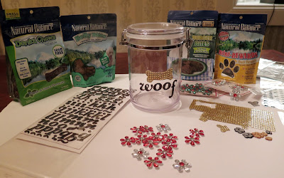 The yummy Natural Balance dog treats and supplies for my DIY treat jar