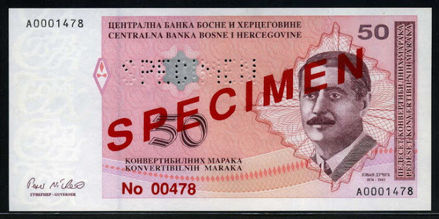 Bosnia and Herzegovina currency money banknotes Convertible Mark Maraka bank notes
