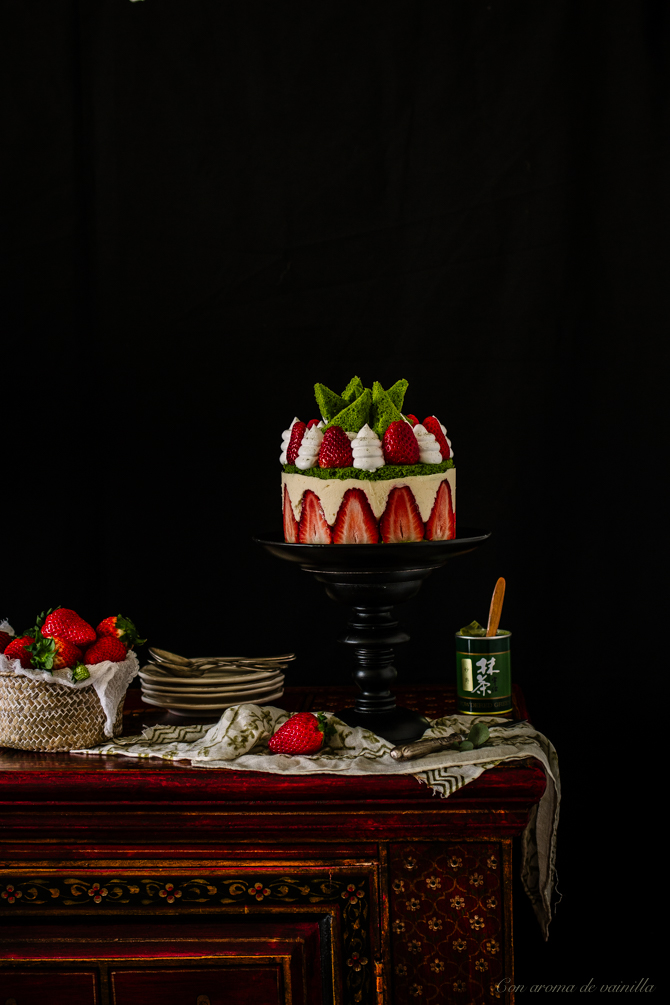 Tarta fraisier con té matcha
