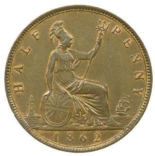 British Coins Halfpenny 1862 Seated Britannia