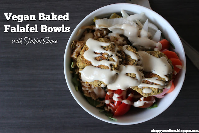 Baked Falafel Bowls with Tahini Sauce {Vegan} | A Hoppy Medium