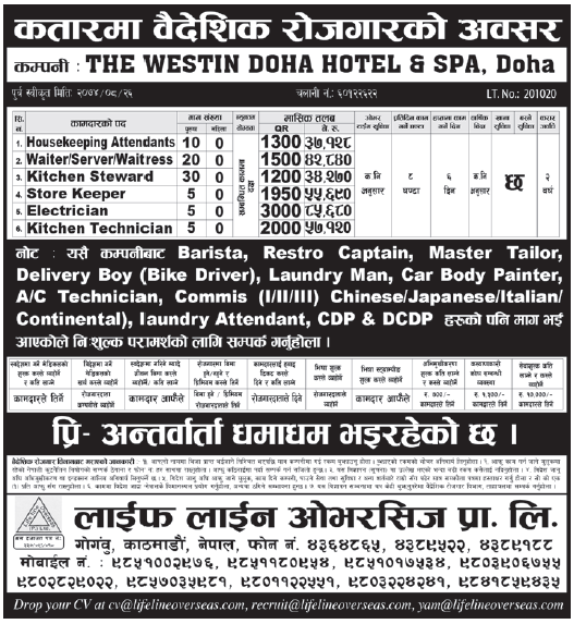 Jobs in Qatar for Nepali, Salary Rs 85,680