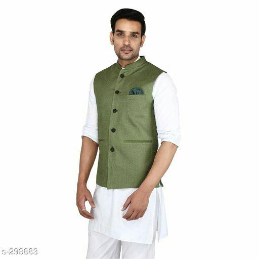 Ethnic Jute Waistcoat For Men