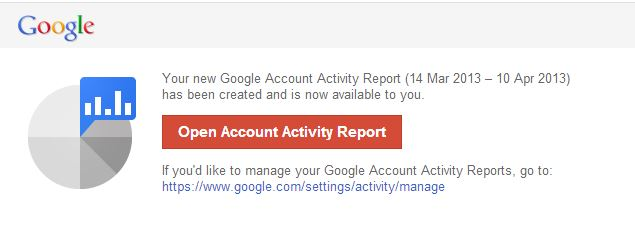 Account Activity Report via Email