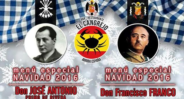 """Un restaurante ofrece el menú especial de Navidad """"Francisco Franco"""""""