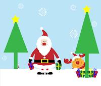 Grafik mit Santa Claus im Schnee