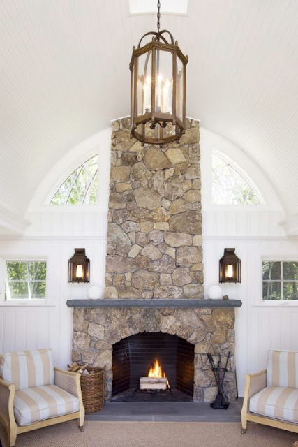 Amazing stone fireplace | Friday Favorites at www.andersonandgrant.com