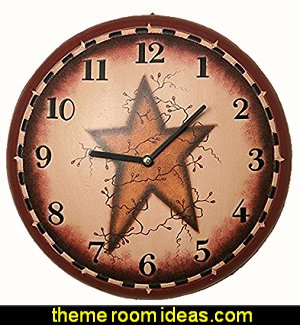 Primitive Star Wall Clock primitive americana decorating style - folk art - heartland decor - rustic Americana home decor - Colonial & Country style decorating Americana bedroom designs - Primitive Country Rustic decor