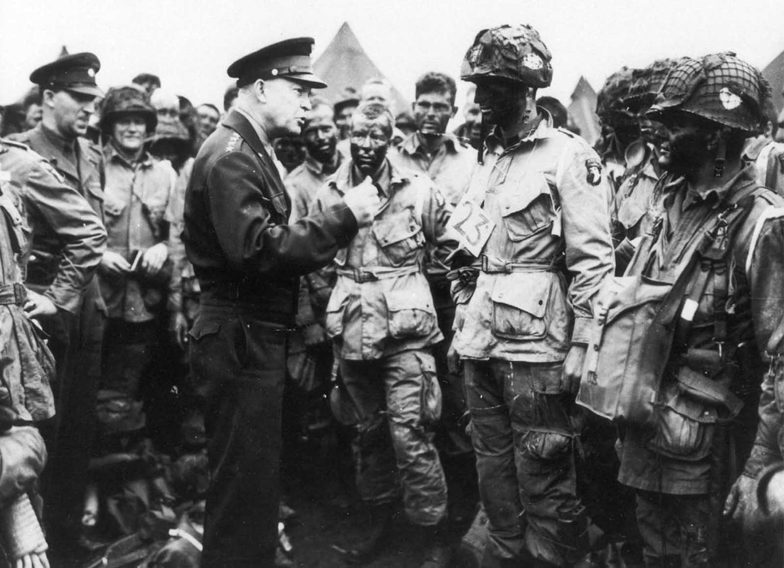 General Dwight D. Eisenhower gives the order of the Day.