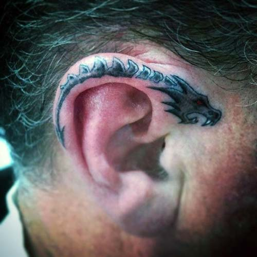 kulak üstü ejderha dövmesi dragon tattoo over the ear