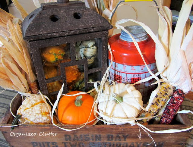 Fall Rustic Vignette in a Crate