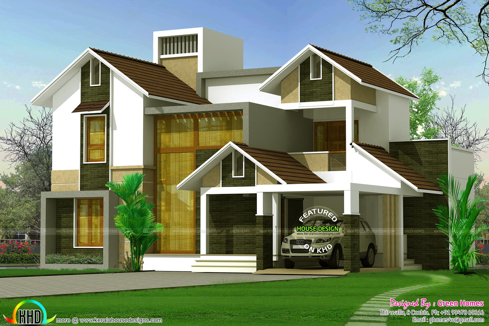 2568 square feet glass wall on front elevation kerala for Elevation of kerala homes