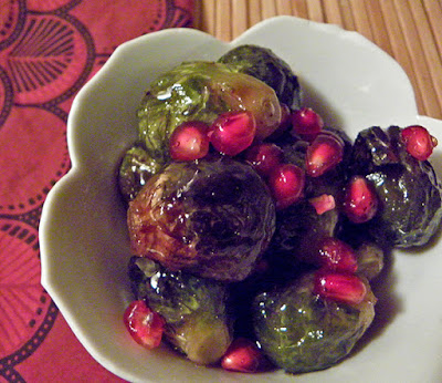 Bowl of Roasted Sprouts with Pomegranate