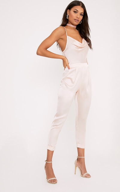 nude colour satin jumpsuit