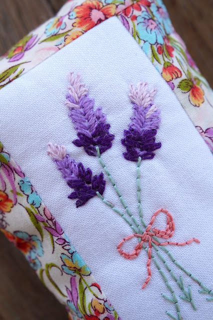 Lavender embroidery pincushion by Anorina Morris of sameliasmum.com