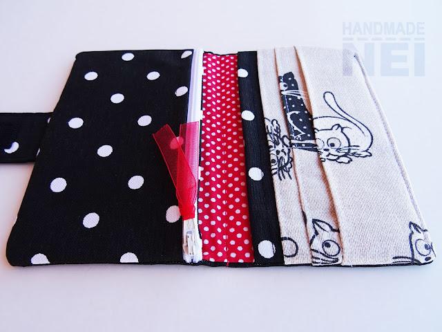 """Handmade Nel: Черно портмоне от плат """"Любопитни котета"""""""