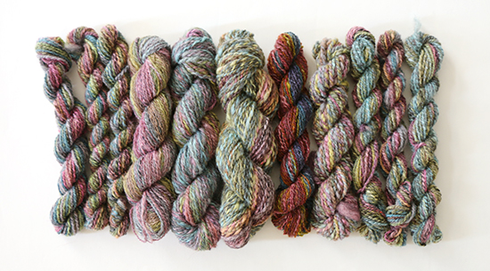 Skeins of Rainbow-Colored Hand Dyed Handspun Wool Yarn