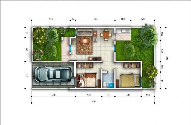 30 Macam Denah Rumah Type 45 - Inspirasi Desain Rumah