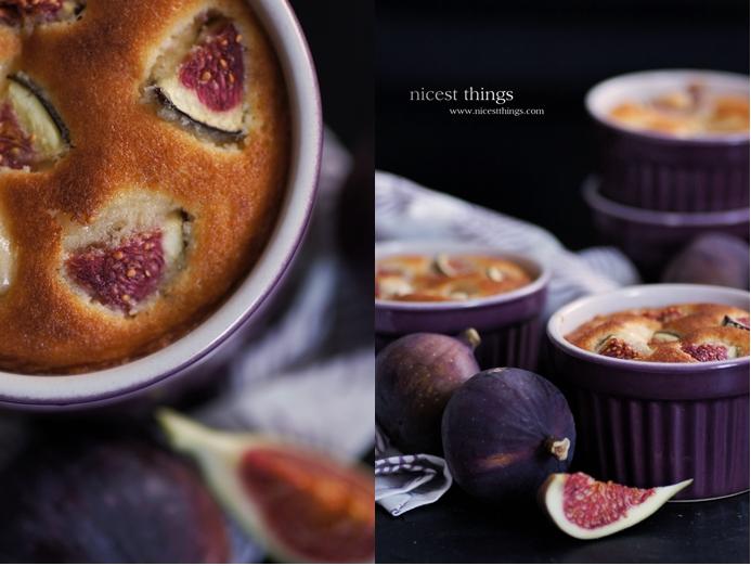 Feigen Dessert Feigen Soufflé in violetten Auflaufschälchen