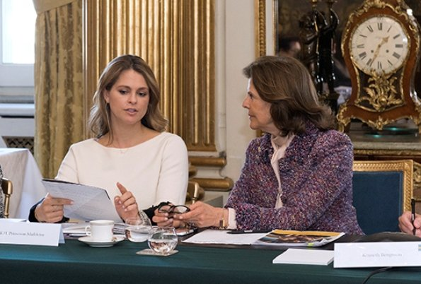 the board meeting of World Childhood Foundation was held with the attendance of Queen Silvia and Princess Madeleine of Sweden at Stockholm Royal Palace