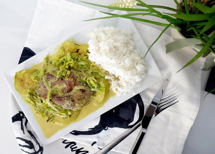 Steak in Safransauce und grünen Äpfel