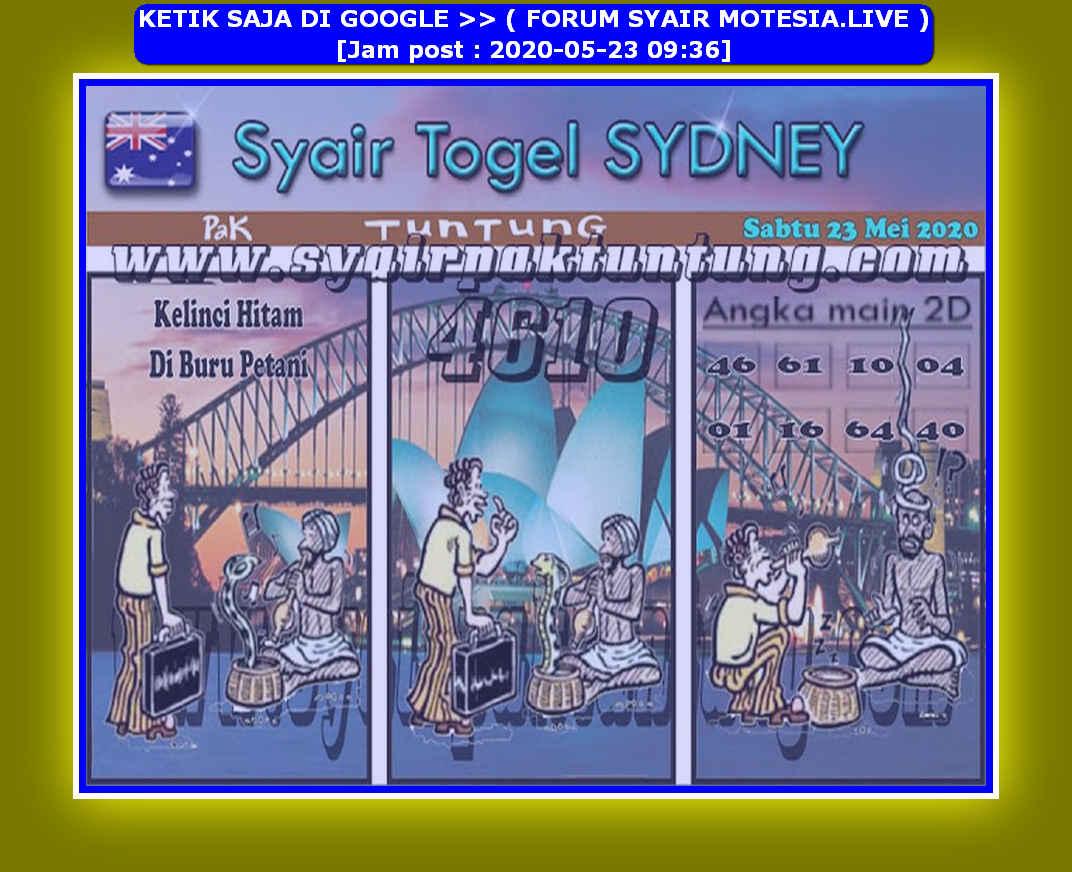 Kode syair Sydney Sabtu 23 Mei 2020 136