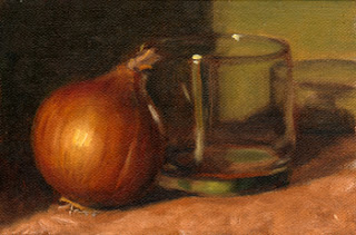 Oil painting of a brown onion beside an old fashioned glass.