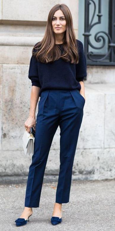 trendy outfit idea / blue classic pants + heels + bag + blouse