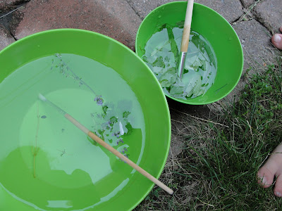 bowls filled with water for play