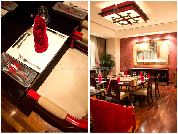 Left: Red Domination at Rosso all the way to the smallest details  Right: One of the private dining rooms at Rosso