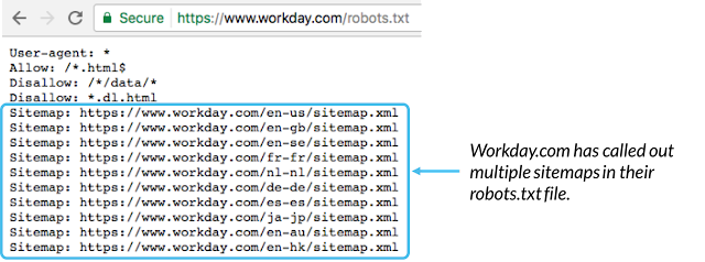 Example of multiple sitemaps in robot.txt file in a website