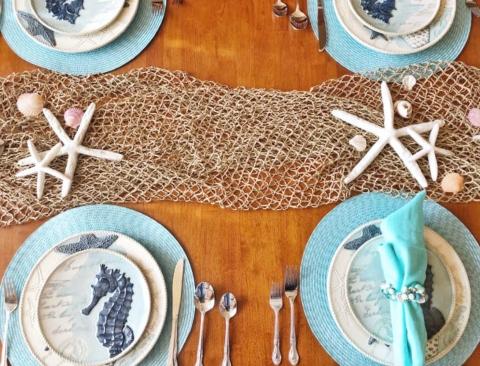 Coastal Table Setting Decor Rope Fish Net Decorative Runner