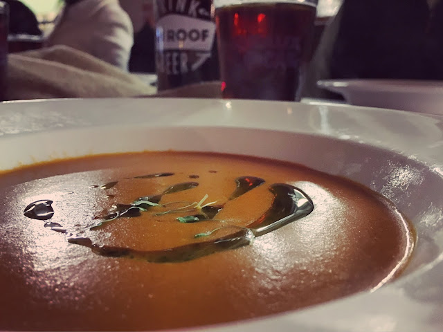 Smoked Tomato Soup with Basil Oil