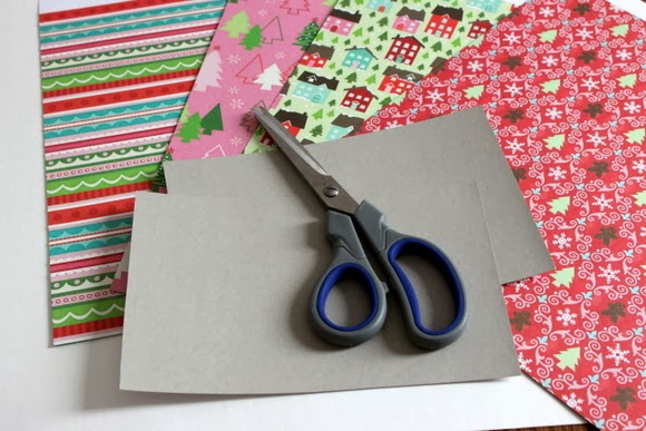 Use leftover Christmas Paper wrapping to add color to the cardboard cover of the book.