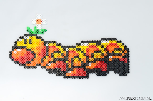 Super Mario World wiggler perler bead craft from And Next Comes L