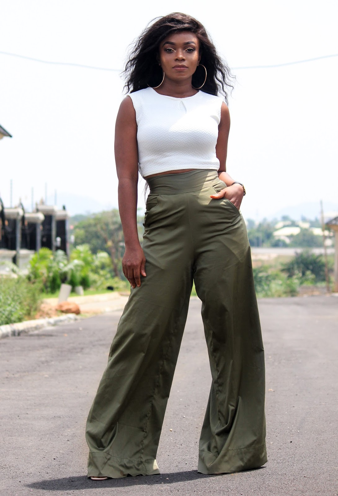 KHAKI PALAZZO PANTS - Khaki Coloured pants from Porshher with white crop top from Boohoo