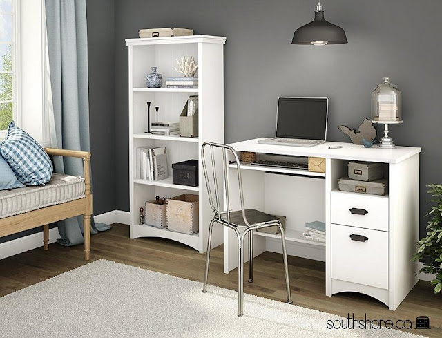 best buy white small home office desk with 4 drawers 1 shelf for sale