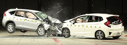 Crash Test of Honda Fit vs CRV