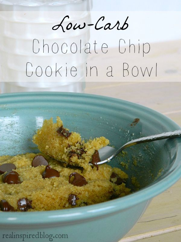 It takes 5 minutes to make this Low-Carb Chocolate Chip Cookie in a Bowl. Gluten free and sugar free!