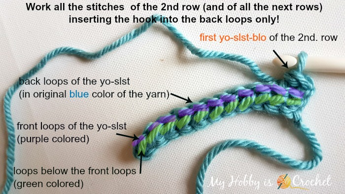 Yarn over- slip stitch - back loops only