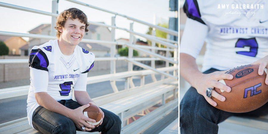 high school football player sitting on bleachers laughing